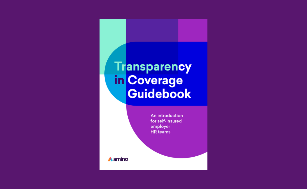 Illustration of an eBook cover with transparent shapes representing healthcare price transparency