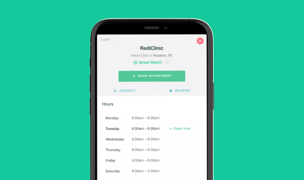 Smartphone showing a retail clinic profile in Amino Guidance