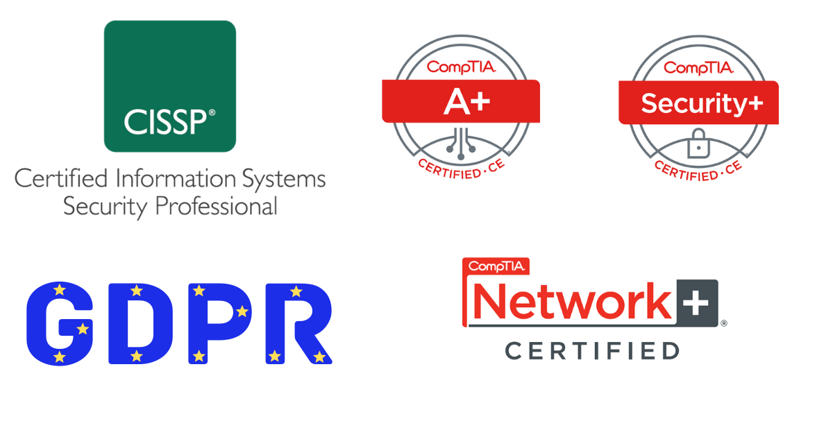 Cybersecurity certification badges