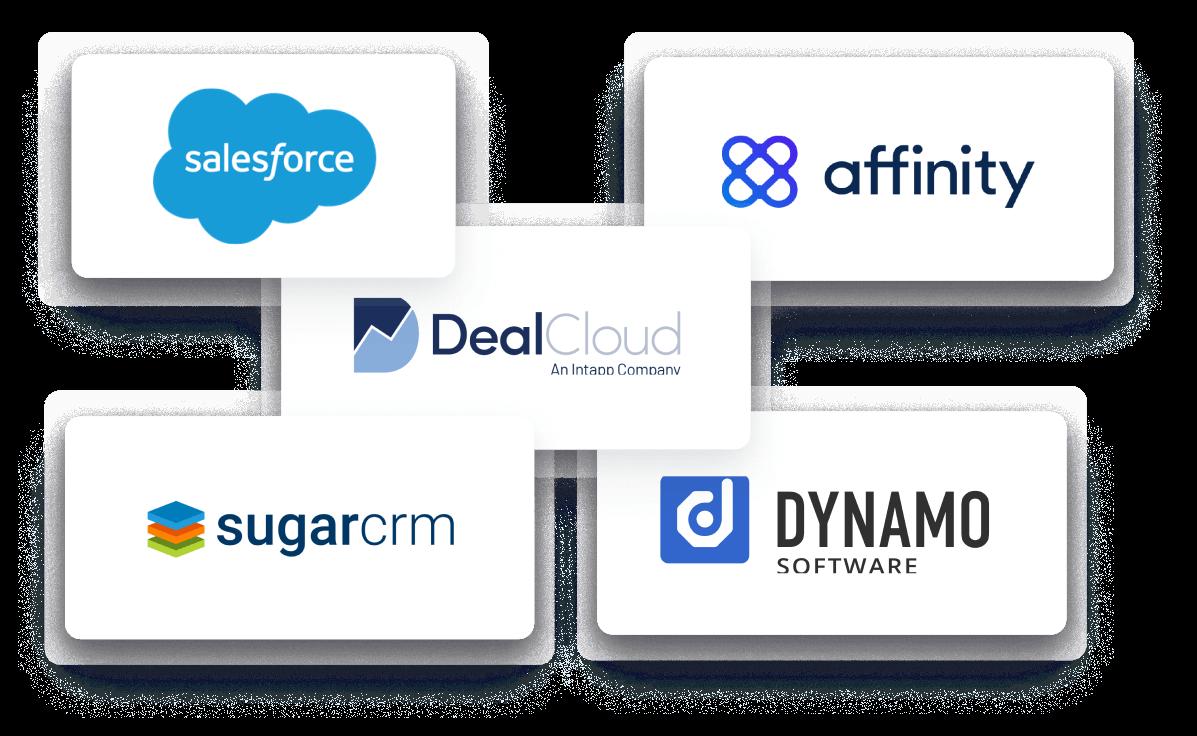 Integrations Salesforce, Dealcloud, dynamo, affinity, sugarcrm