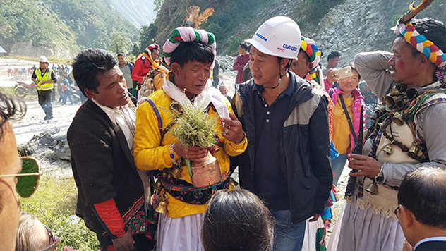 An Indigenous Peoples prayer ceremony at Nepal's UT-1 hydropower project