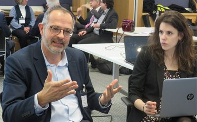 Denis Aelbrecht, Head of EDF's Hydro Engineering Technology Group and member of the expert advisory panel, and Cristina Diez Santos, IHA analyst.