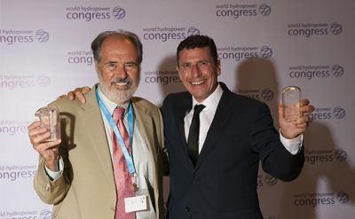 Eduard Wojcynski of Manitoba Hydro and Anton-Louis Olivier of Renewable Energy Holdings, two of the winners of the Mosonyi award at the 2017 World Hydropower Congress.