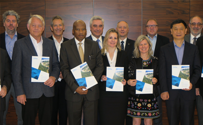 IHA Board members present the 2018 Hydropower Status Report ahead of its launch in Beijing, China, on 24 May 2018.