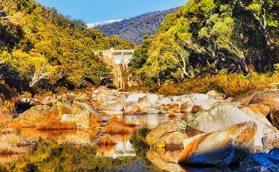 Guthega dam on Snowy river, Australia