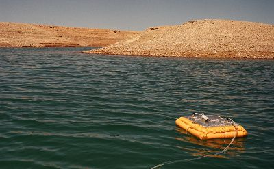 Photograph of a device to measure GHG emissions floating in Lake Powell, Arizona. Photo by Hydro-Québec