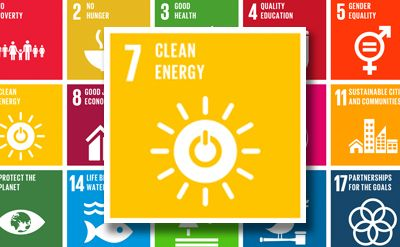 Image of the Sustainable Development Goals icons highlighting goal 7 -
