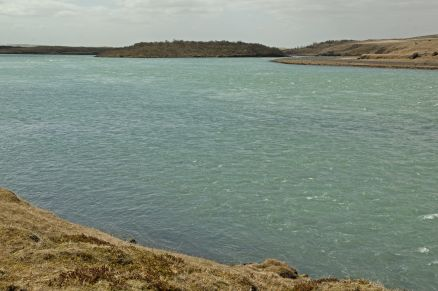 Downstream view from Hvammur dam site with Viðey