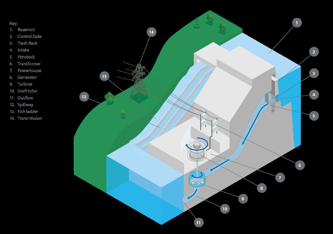 图1:水电厂的主要部件