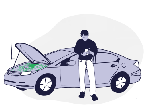 Icon of man in front of car with hood open.