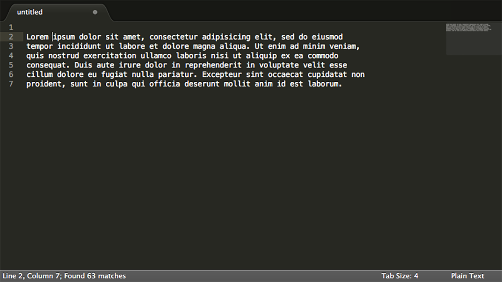 Sublime Text 2 screen