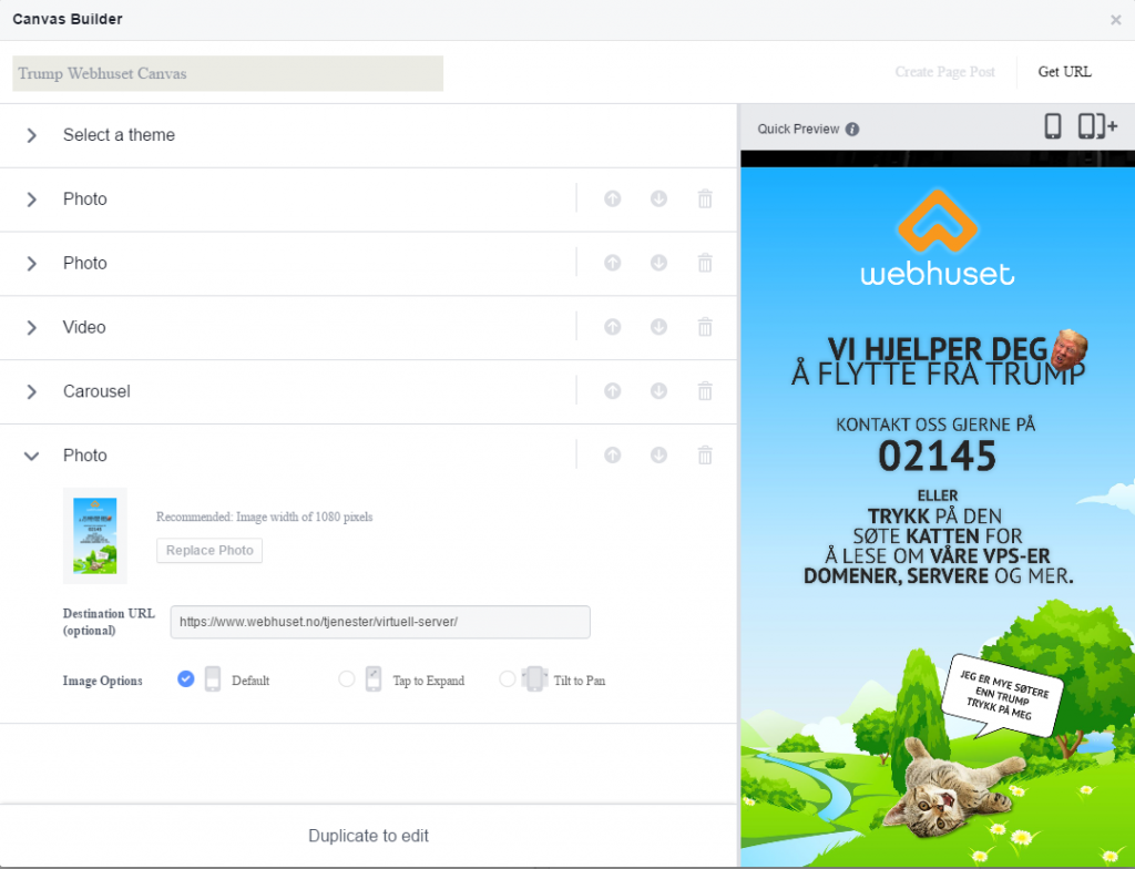 Facebook Canvas Ads Canvas Builder webhuset