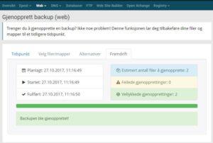 Backup av webhotellet ditt gjenoppretter nå du enkelt i kundesenteret.