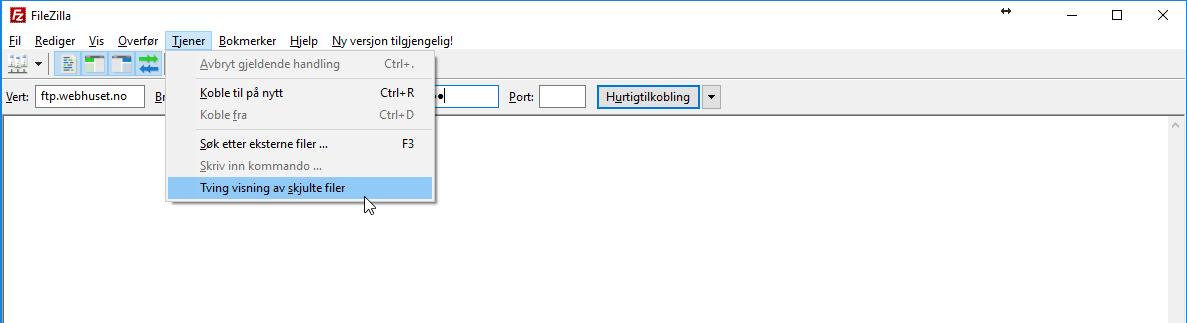 Visning av skjulte filer i FileZilla