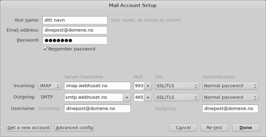 Steg 3: Fyll deretter ut feltene for innkommende og utgående epostserver samt Port, SSL og Authentication slik: