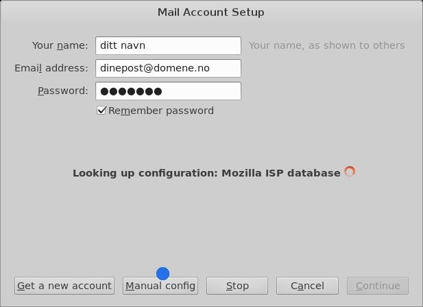 Fyll inn navn i mail account setup