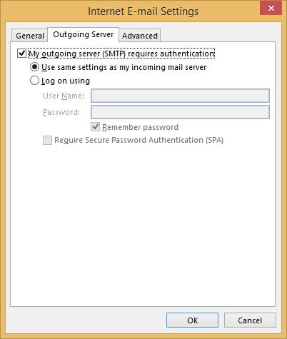 Internet E-mail Settings