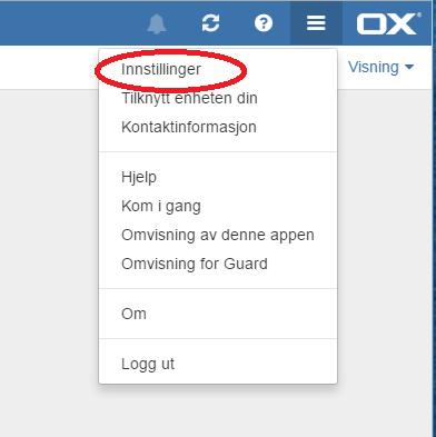 Open xchange innstillinger