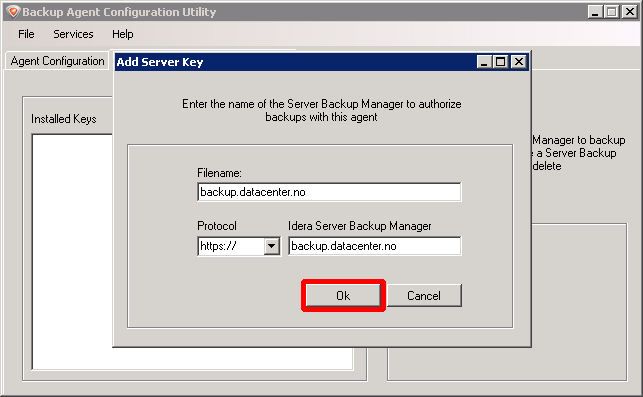 Få hjelp til å konfigurere backup agent