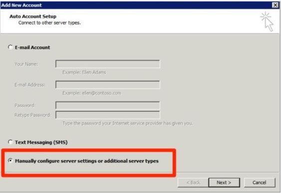 Du får opp en liste over eksisterende epostkontoer i Outlook