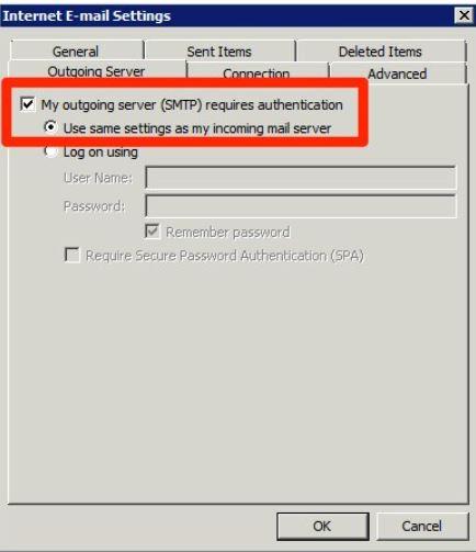 Klikk arkfanen Outgoing Server