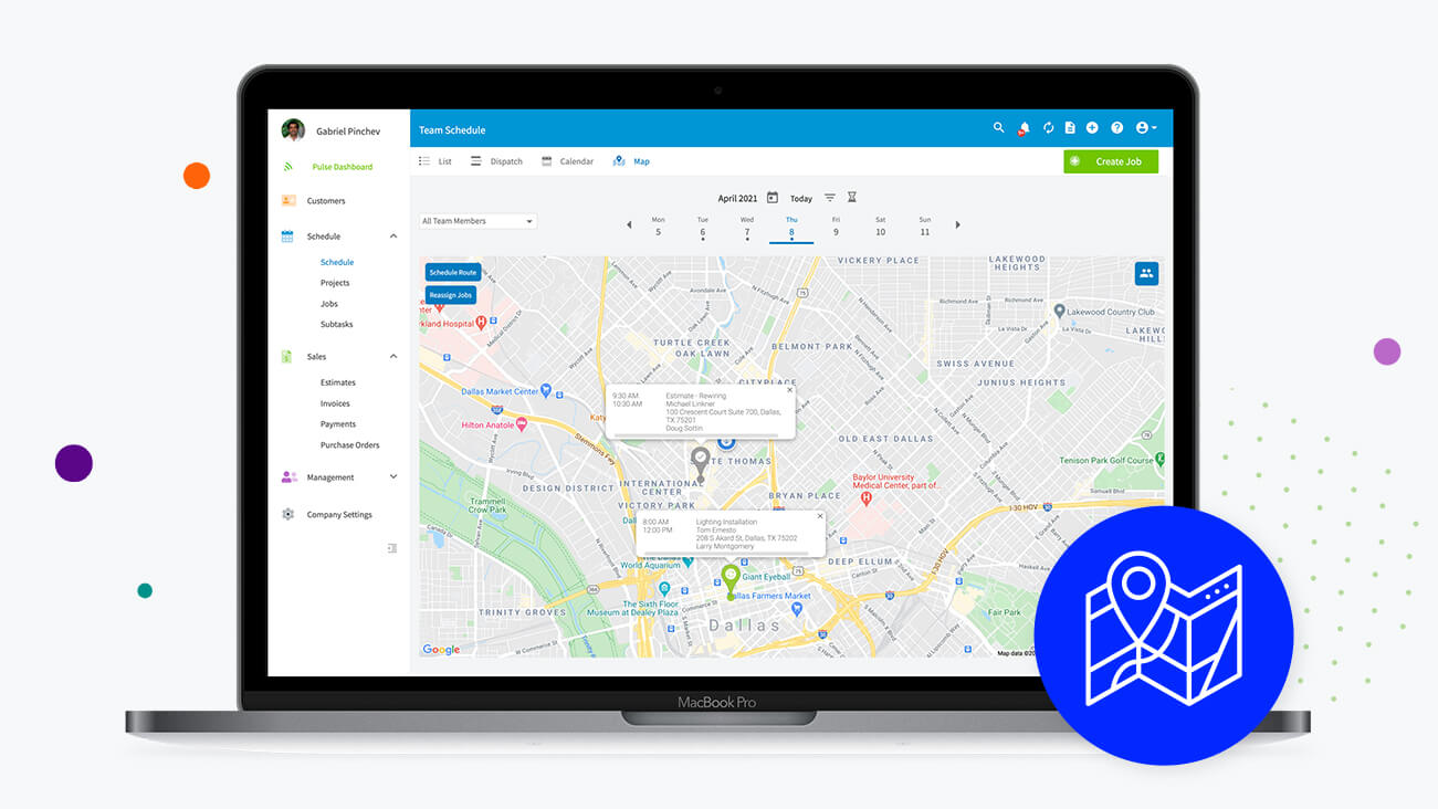 Laptop displaying dispatch feature with locations of employees on jobs
