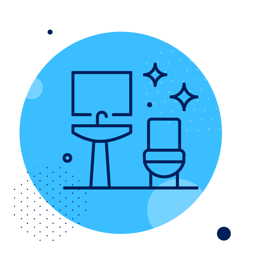Blue circle with a toilet and sink icon and sparkle icon