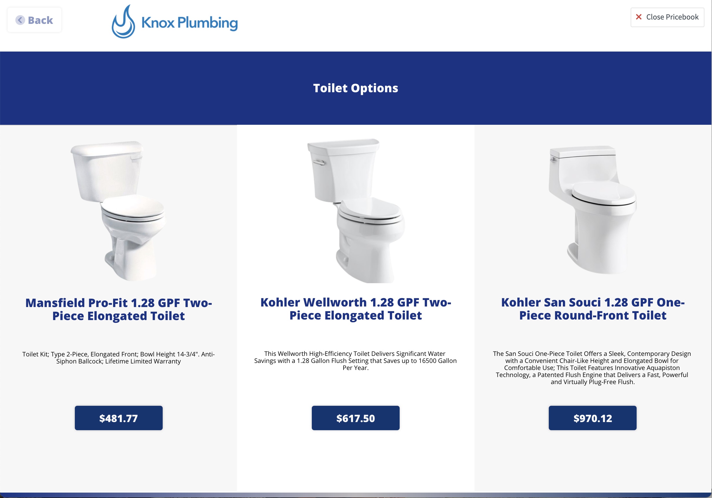 Good, better, best display of toilet options