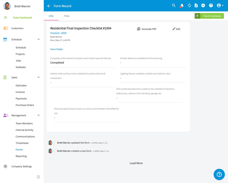 FieldPulse custom form dashboard