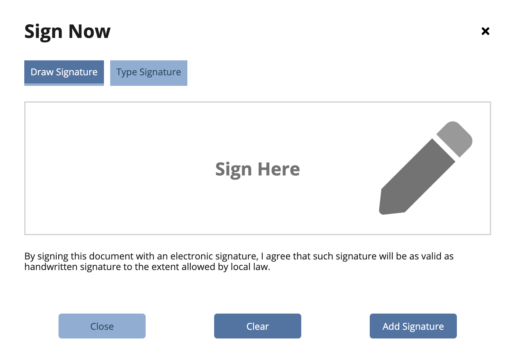 Signature box display with option to type or draw e-signature
