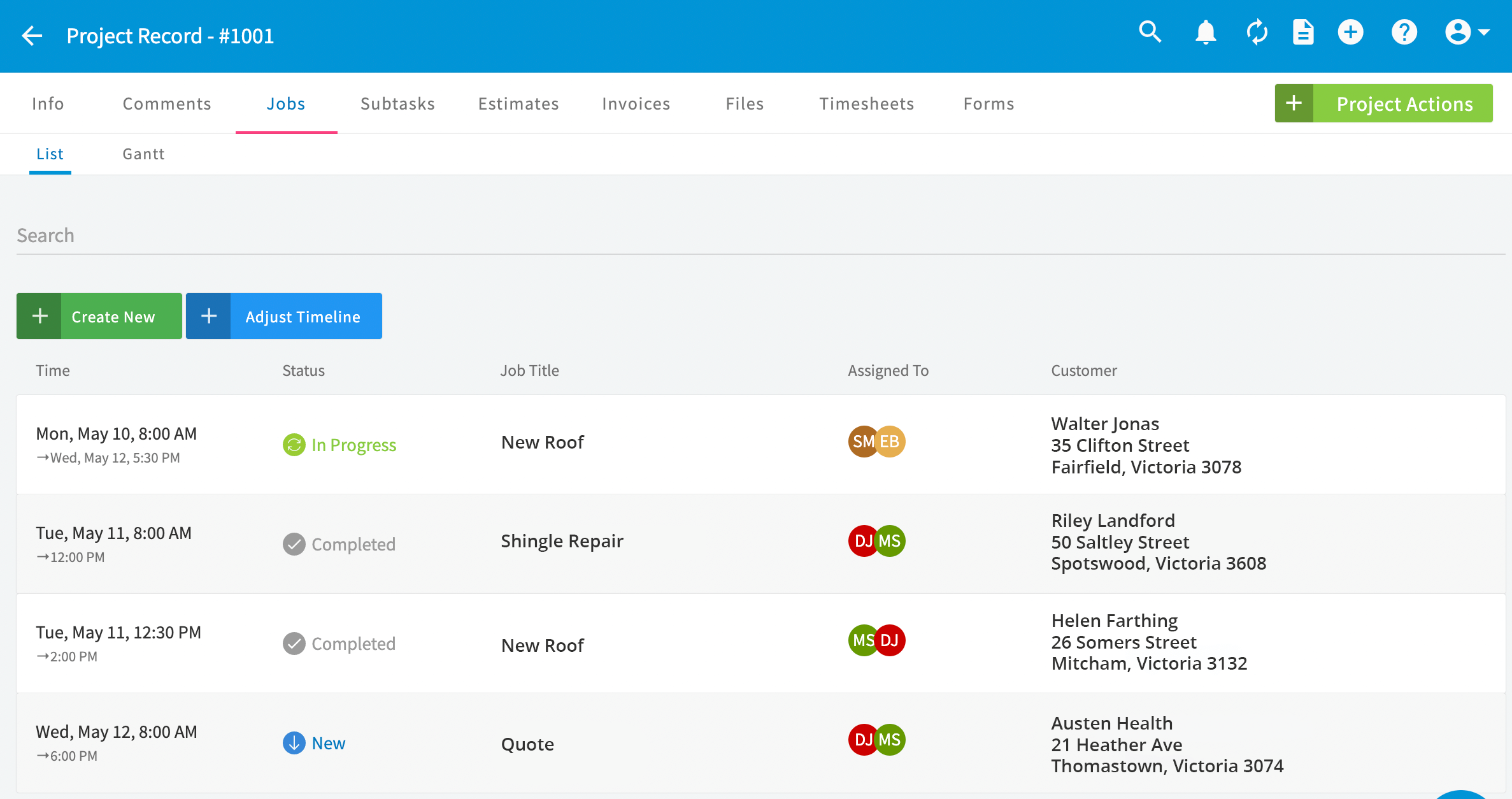 FieldPulse project management dashboard