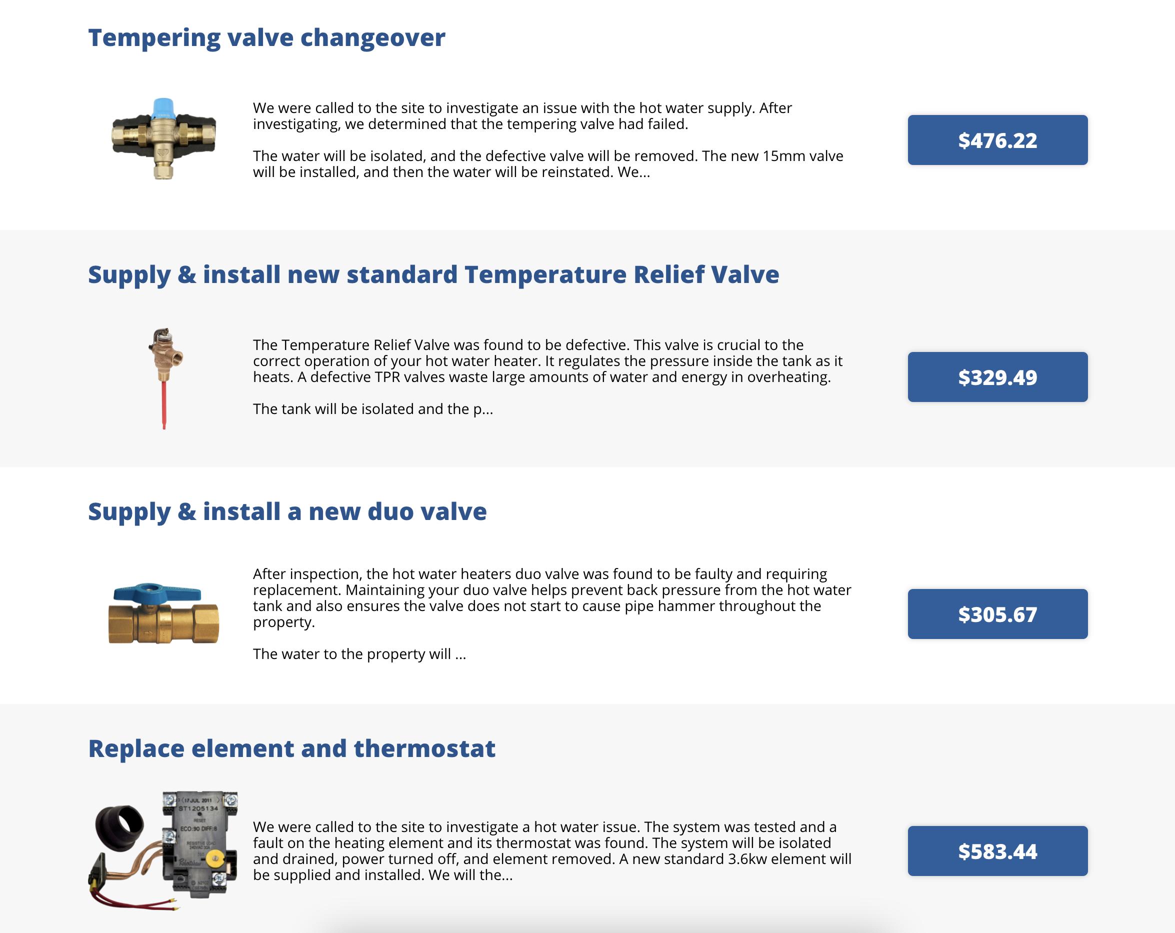 FieldPulse Pricebook feature displaying plumbing options