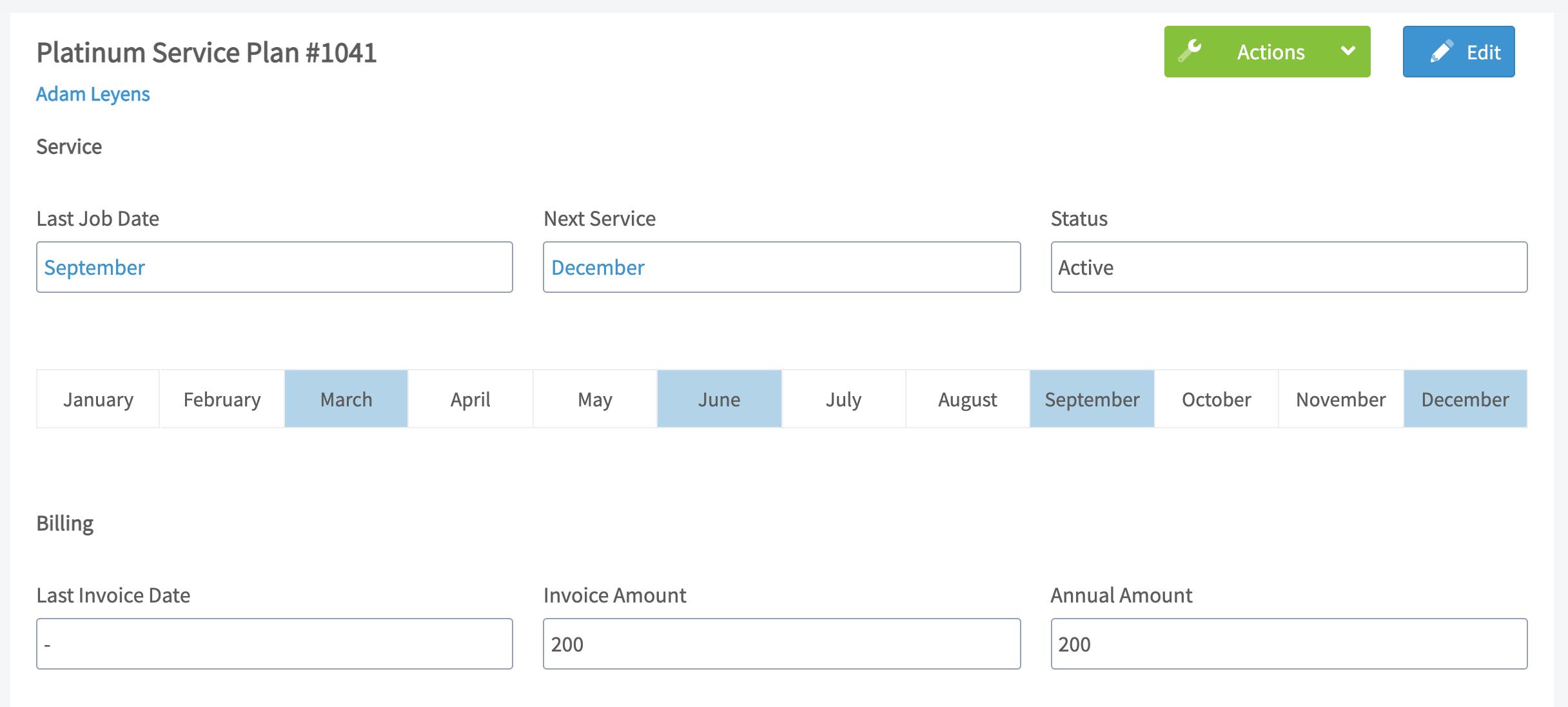 Screenshot of FieldPulse platinum level maintenance agreement feature