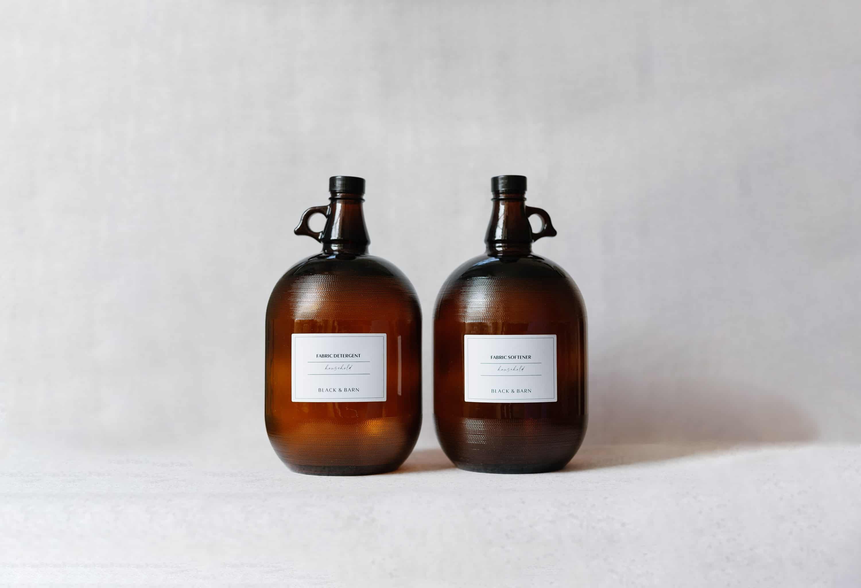 Amber glass laundry storage bottles.