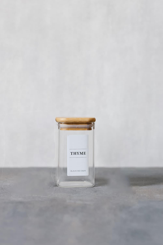 Rectangular Glass Spice Jar with White Label - 200ml