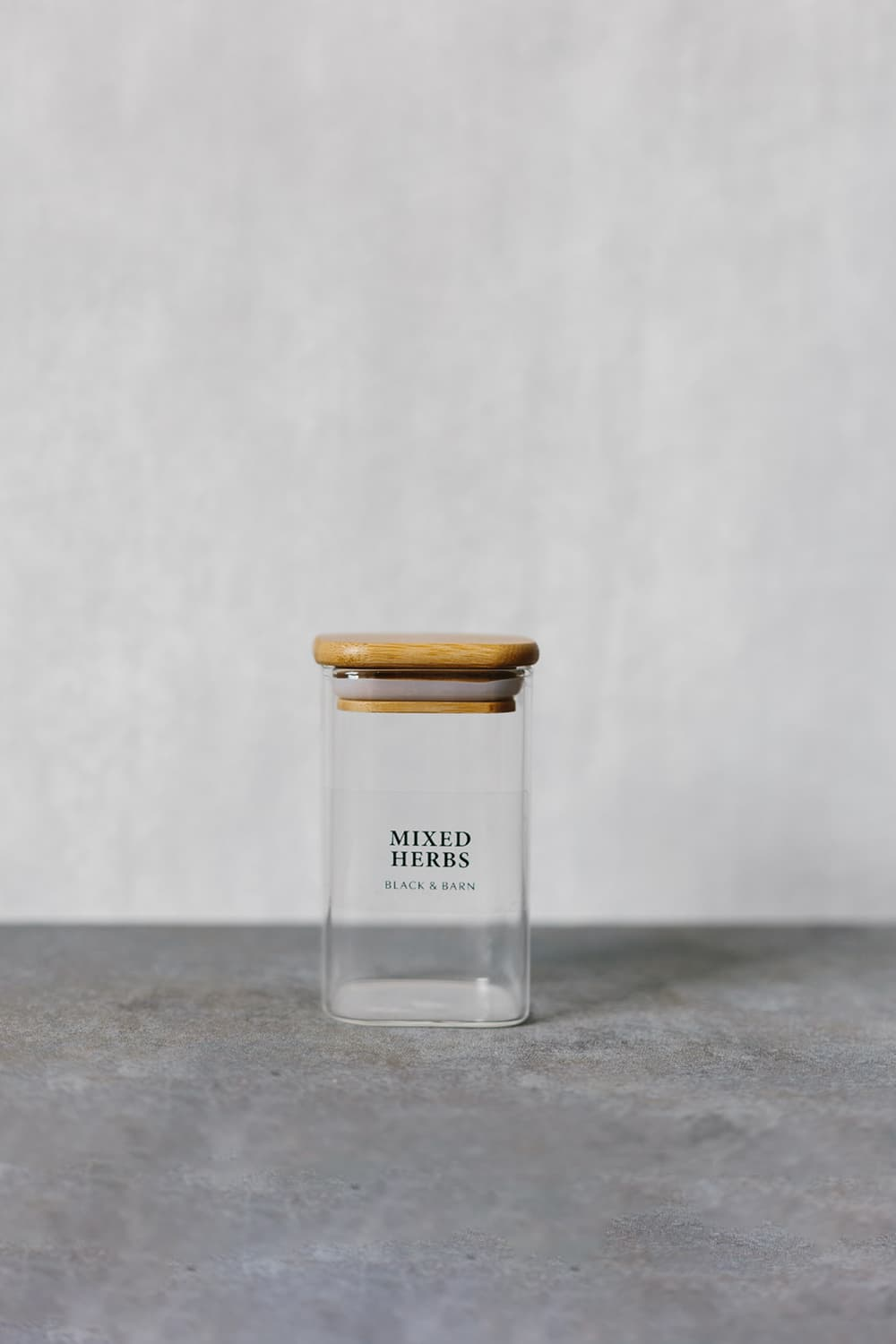 Rectangular Glass Spice Jar with Clear Label - 200ml