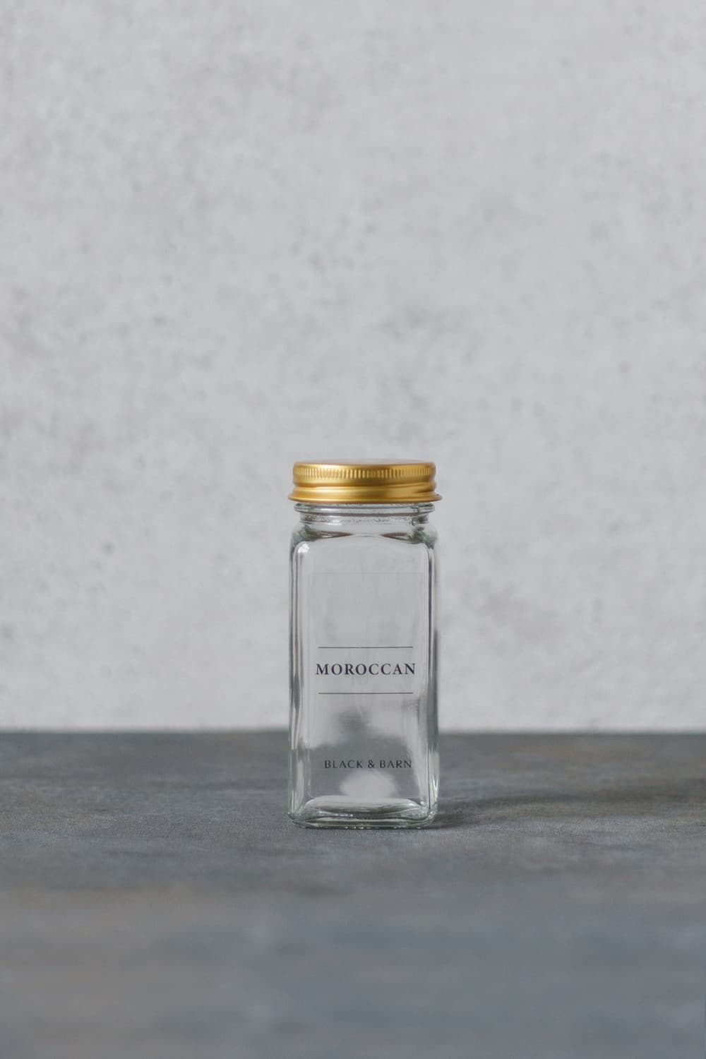 Glass Spice Jar with Clear Label & Gold Lid