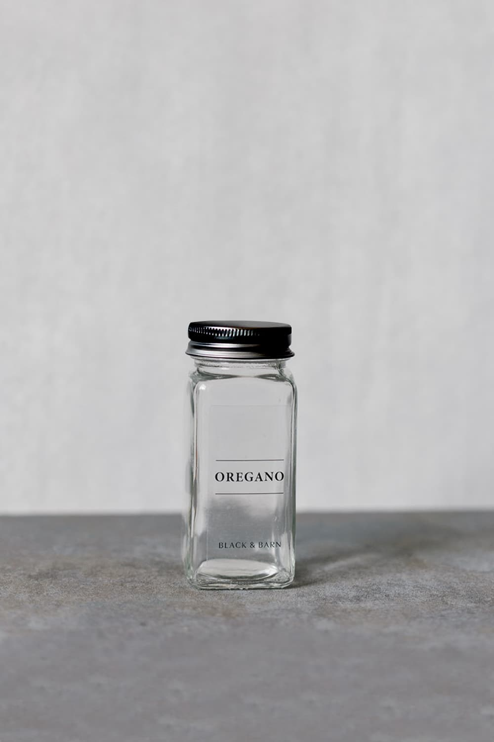 Glass Spice Jar with Clear Label & Black Lid