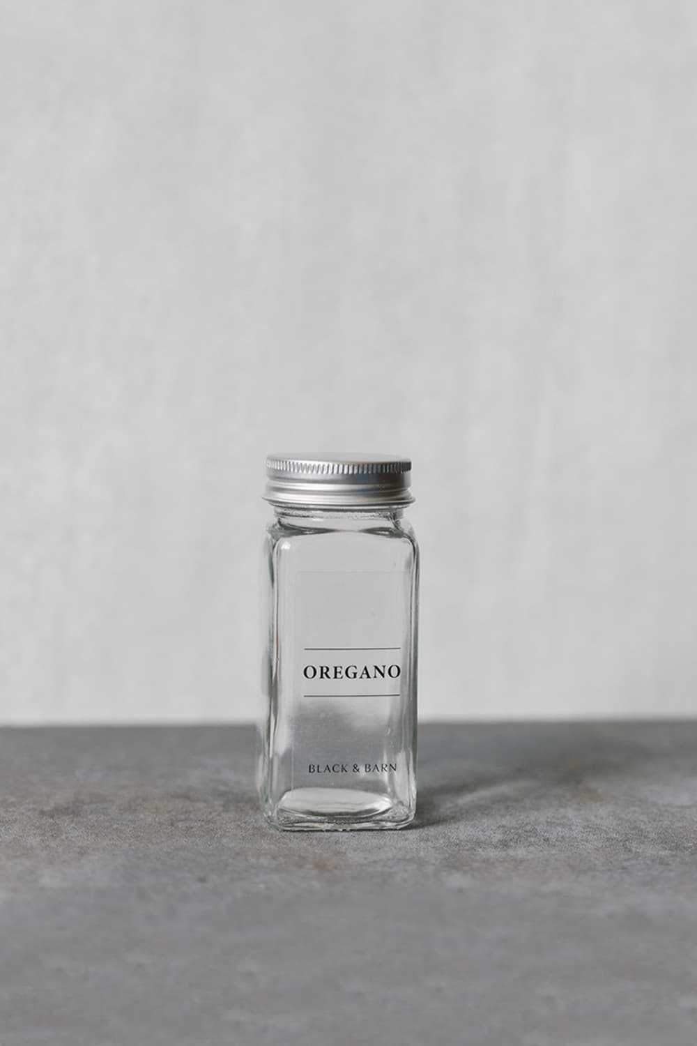 Glass Spice Jar with Clear Label & Silver Lid