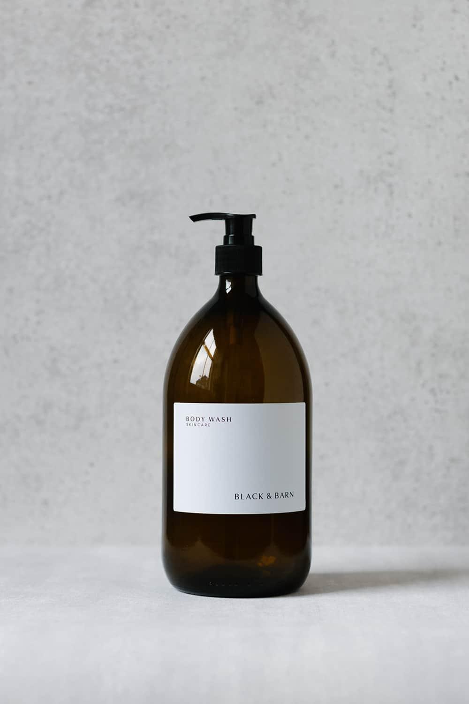 Pump Bottle with Waterproof Label - 1L