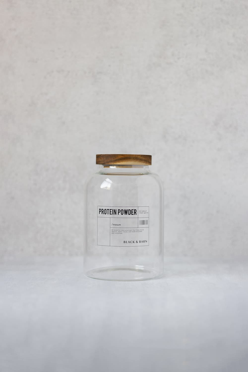 Clear Glass Pantry Jar with Clear Label - 1 Litre