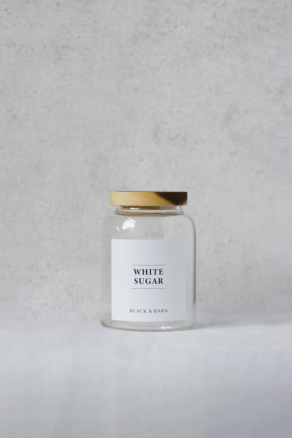 Clear Glass Pantry Jar withWhite Label - 1Litre