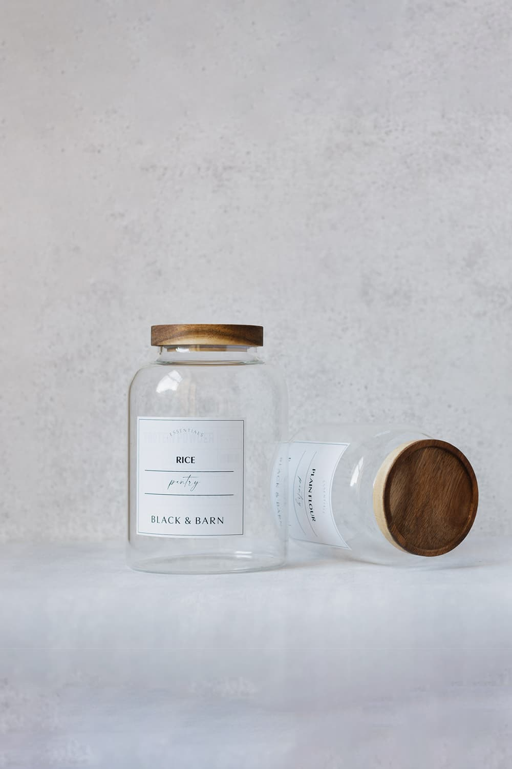 Clear Glass Pantry Jar with Luxury White Label - 1Litre