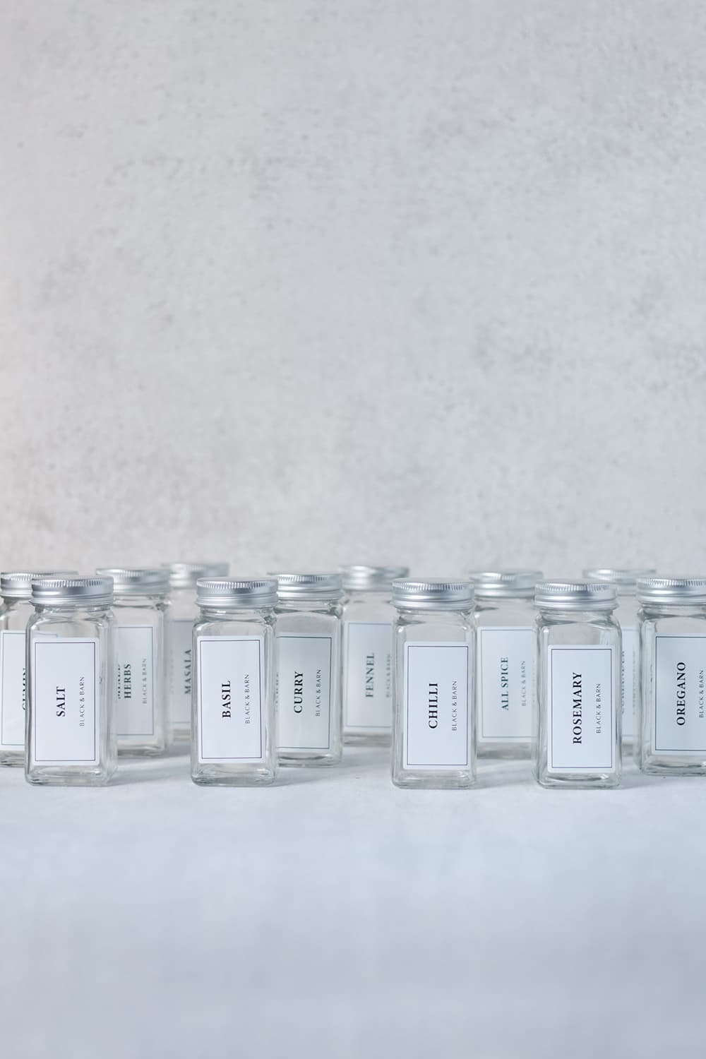 12 Piece Spice Jar Set with White Labels
