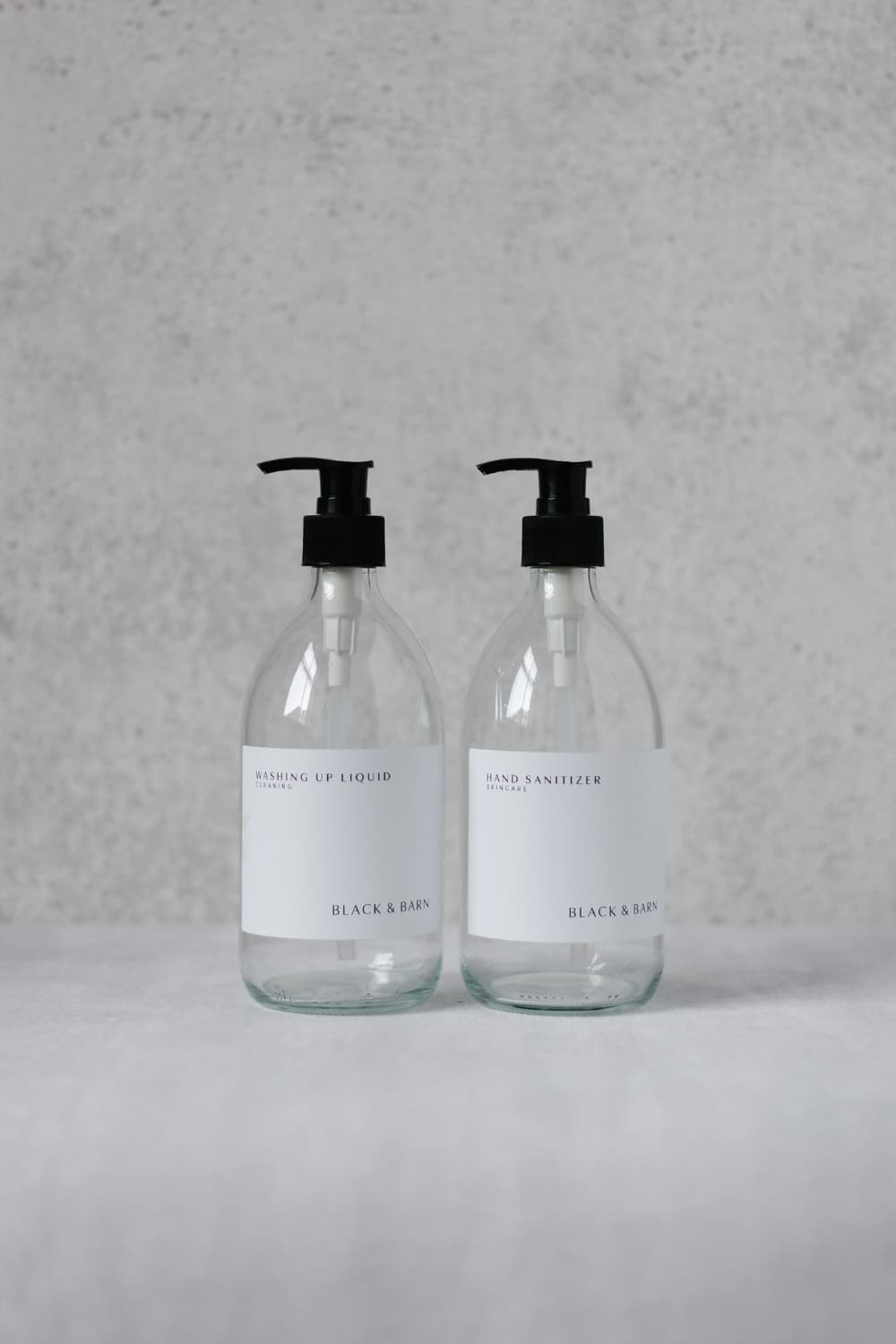 500ml Clear Pump Bottle with Waterproof White Label