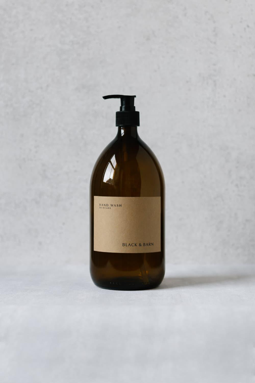 1L Pump Bottle with Brown Kraft Label