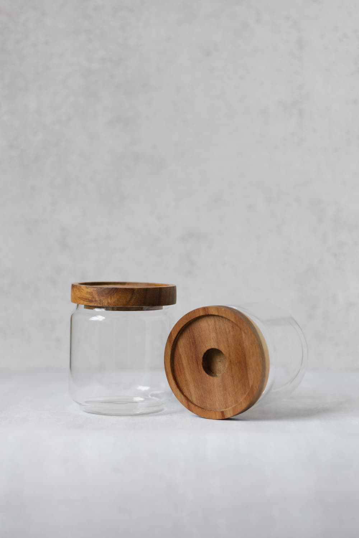 Clear Bamboo Pantry Jar - 500ml