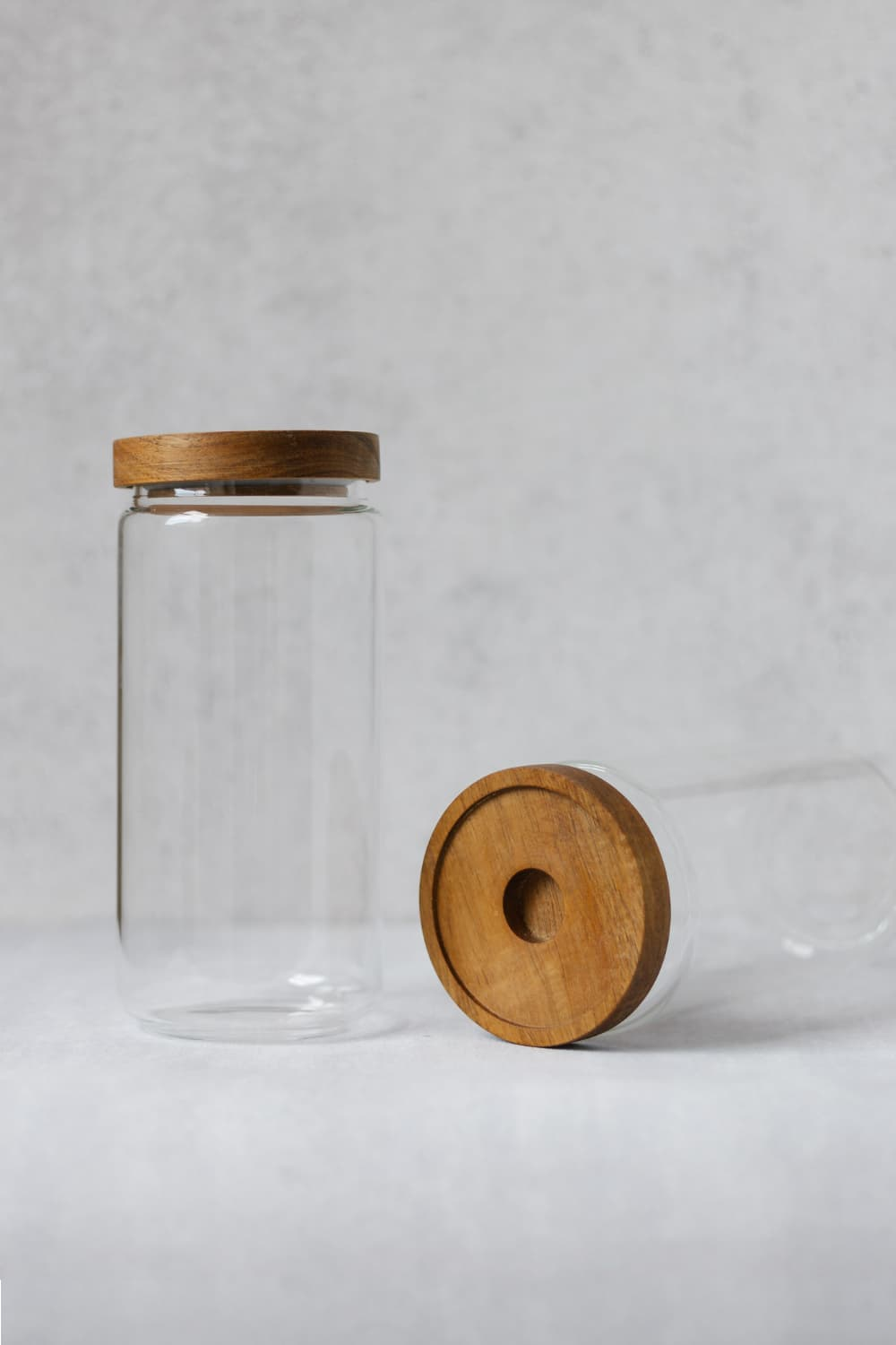 Clear Bamboo Pantry Jar - 1Litre