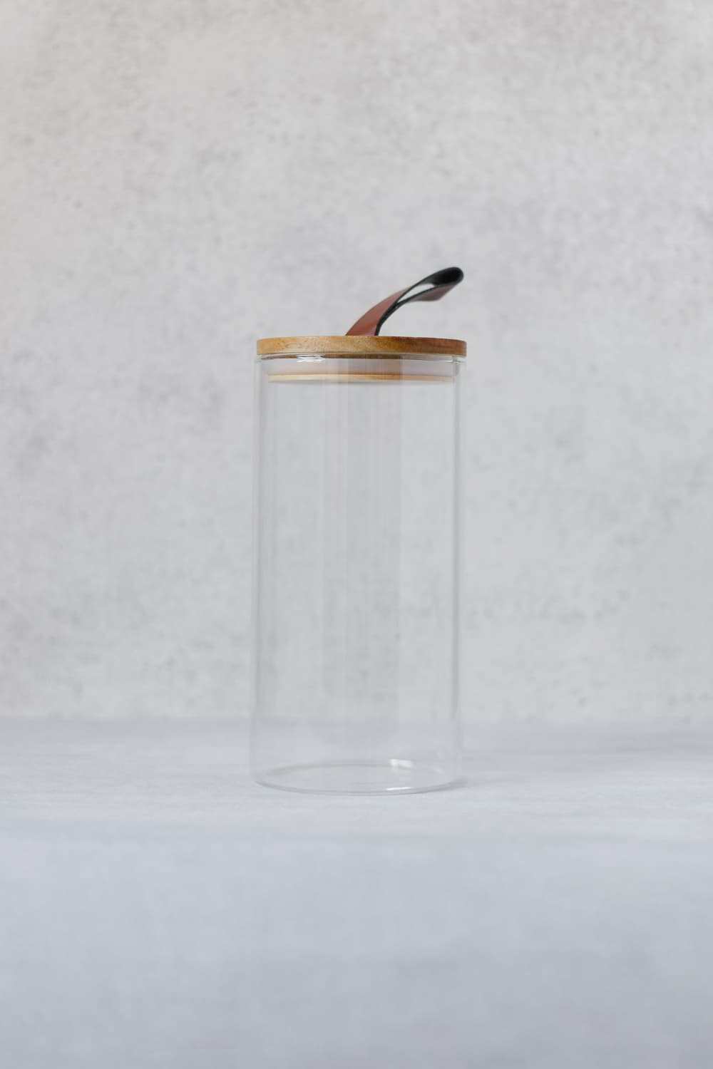 Round Glass Jar with Leather Tag Lid - 1300ml
