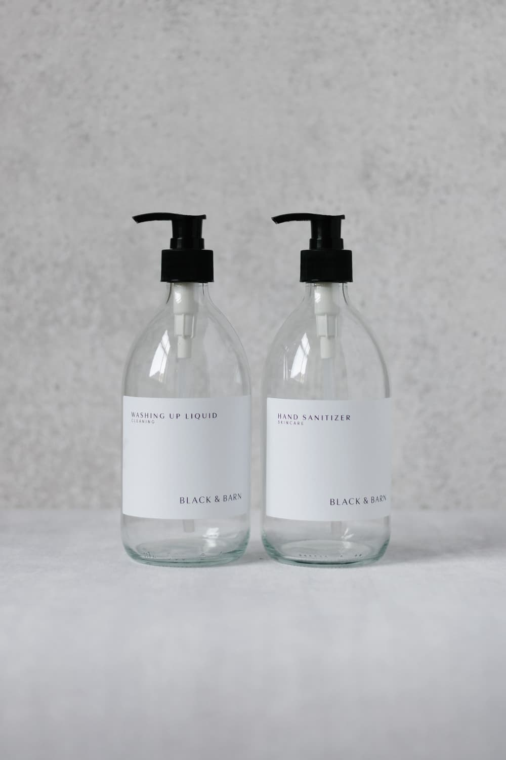 1L Clear Pump Bottle with Waterproof White Label